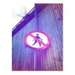 No Pedestrian Road Sign Postcard