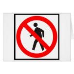 No Pedestrians Highway Sign Card