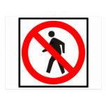 No Pedestrians Highway Sign Post Card