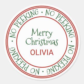 No Peeking Christmas Gift Classic Round Sticker