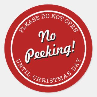 No Peeking Christmas Wrapping Sticker