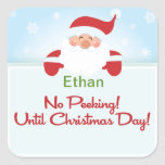 No Peeking until Christmas Santa Gift tag Sticker