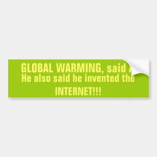 No pegatina para el parachoques del calentamiento  etiqueta de parachoque