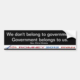 No pertenecemos al pegatina del gobierno Christie  Pegatina Para Auto