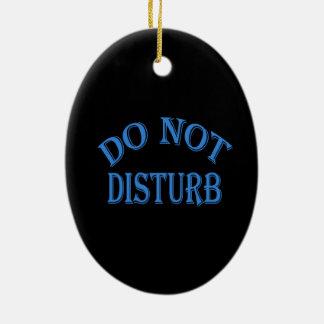 No perturbe - el fondo negro adorno navideño ovalado de cerámica