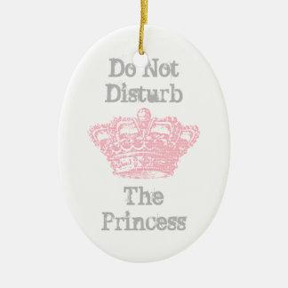 No perturbe la suspensión de la princesa puerta adorno navideño ovalado de cerámica