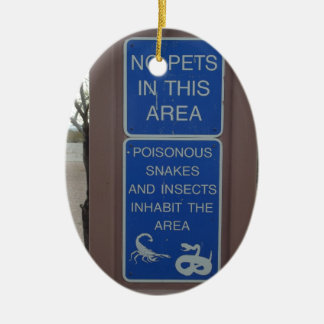 No Pets Desert Warning Sign Double-Sided Oval Ceramic Christmas Ornament