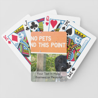 no pets with dog sign at beach funny animal image bicycle playing cards