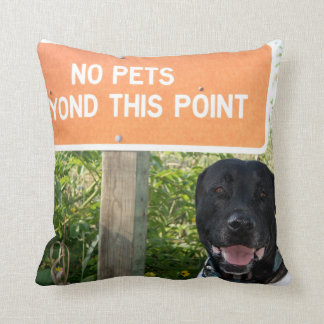 no pets with dog sign at beach funny animal image throw pillow