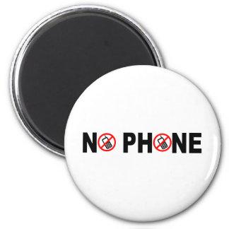 No Phone 2 Inch Round Magnet
