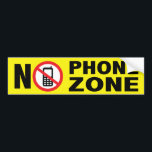 "No Phone Zone Bumper Sticker<br><div class=""desc"">Let people know that smart phones and driving don&#39;t match. Also great for classrooms,  or anyplace where phones just doesn&#39;t belong.</div>"