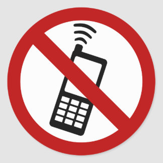 NO PHONE ZONE Sign Classic Round Sticker