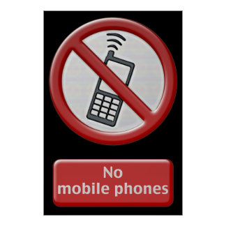 NO PHONE ZONE Sign - poster
