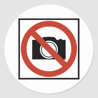 No Photography Highway Sign Classic Round Sticker