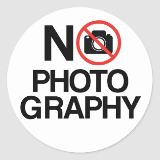 No Photography Round Stickers