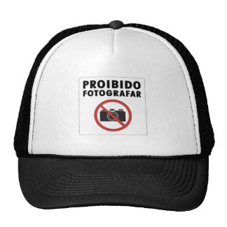 No Pictures Allowed Sign, Brazil Trucker Hat