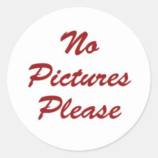 No Pictures Please Classic Round Sticker