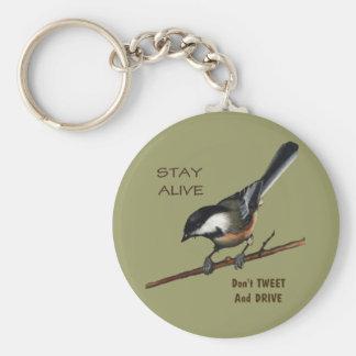 No pie y no conduzca: Pájaro: Arte del lápiz del c Llavero Redondo Tipo Pin