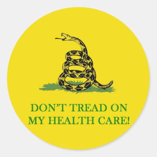 no pise en mi atención sanitaria obama pegatina redonda