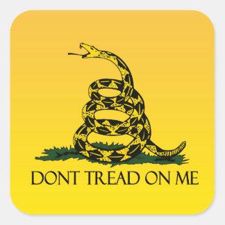No pise en mí, bandera amarilla de la bandera de pegatinas cuadradas