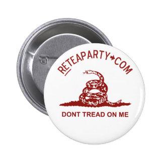 No pise en mí el botón de la fiesta del té pin redondo de 2 pulgadas