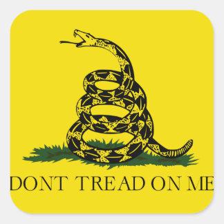 No pise en mí la bandera americana de Gadsden Pegatina Cuadrada