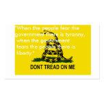 No pise en mí las tarjetas de la bandera tarjetas de visita
