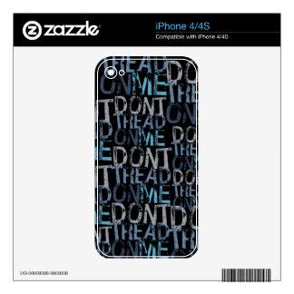 No pise en mí tipográfico skins para iPhone 4S
