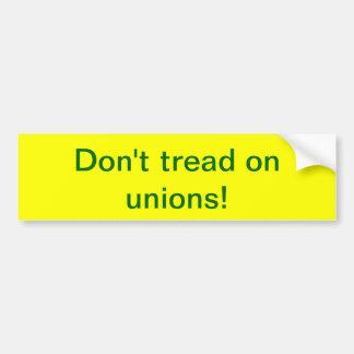 ¡No pise en uniones! Pegatina De Parachoque