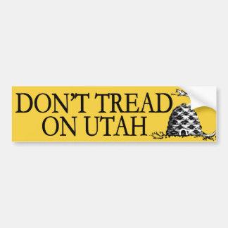 No pise en Utah Pegatina De Parachoque