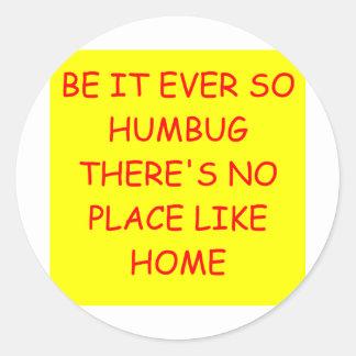 no place like home classic round sticker