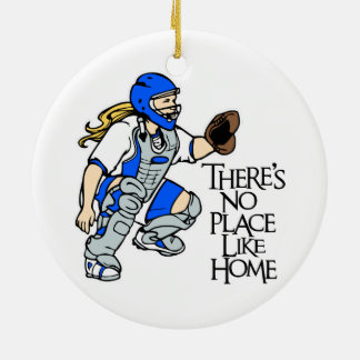 NO PLACE LIKE HOME! Double-Sided CERAMIC ROUND CHRISTMAS ORNAMENT