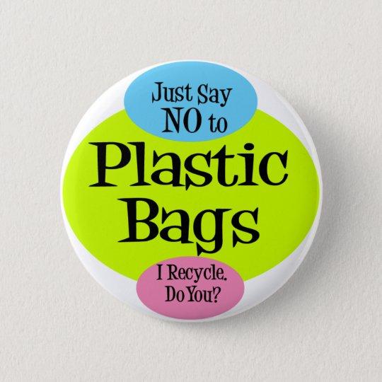 No Plastic Bags Pinback Button