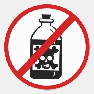 no-poison classic round sticker