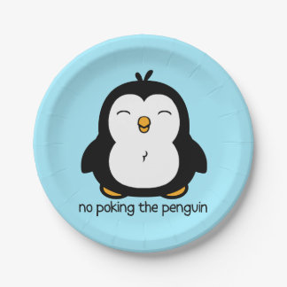 No Poking The Penguin 7 Inch Paper Plate