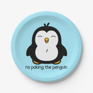 No Poking The Penguin Paper Plate  sc 1 st  Zazzle : penguin paper plates - pezcame.com