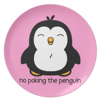 No Poking The Penguin Party Plate