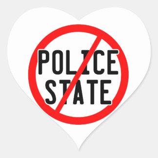 NO POLICE STATE - nwo/illuminati/occupy/bankster Heart Sticker