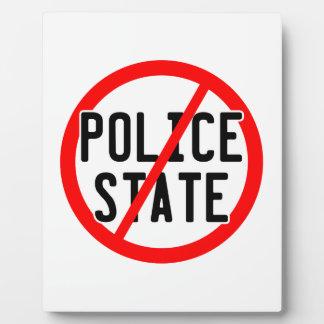NO POLICE STATE - nwo/illuminati/occupy/bankster Plaque