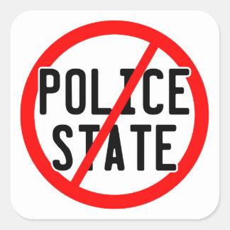 NO POLICE STATE - nwo/illuminati/occupy/bankster Square Sticker
