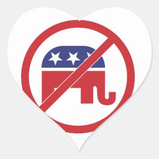 No Politics Republican Elephant Heart Sticker