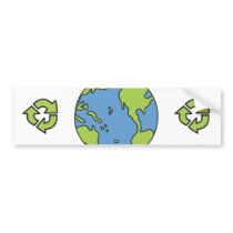 No Polluter Hooter Earth & Recycle Symbols Bumper Sticker