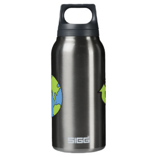 No Polluter Hooter Earth & Recycle Symbols Insulated Water Bottle