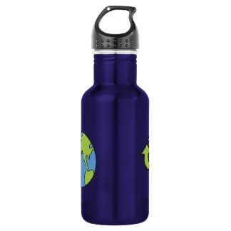 No Polluter Hooter Earth & Recycle Symbols Water Bottle