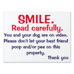 NO POOPING OR PEEING SIGN FOR DOG OWNERS<br><div class='desc'>Tired of cleaning up after irresponsible dog owners. This sign could help your lawman remain poop and pee free.</div>