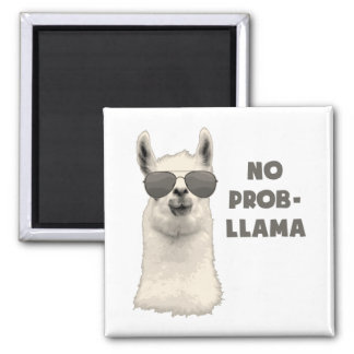 No Problem Llama 2 Inch Square Magnet