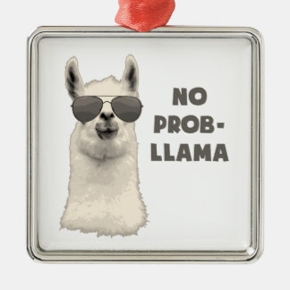 No Problem Llama Square Metal Christmas Ornament