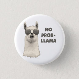 No Problem Llama Pinback Button