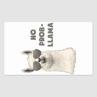 No Problem Llama Rectangular Sticker