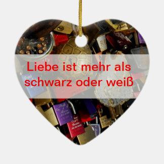 No puede atar amor adorno navideño de cerámica en forma de corazón